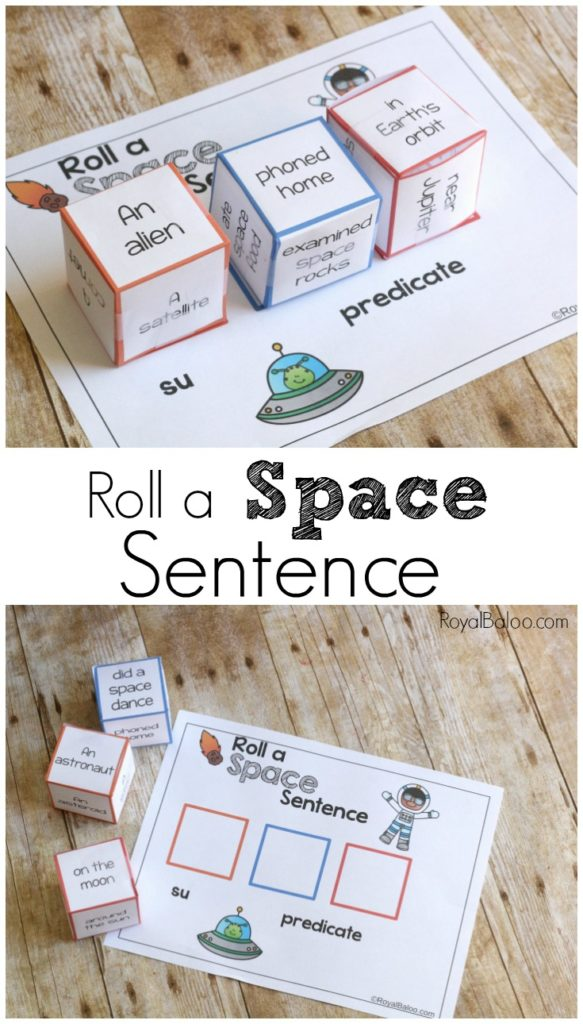 Silly sentences for space!  Roll a space sentence and practicing reading, among other things.  Silly sentences are fun and exciting!
