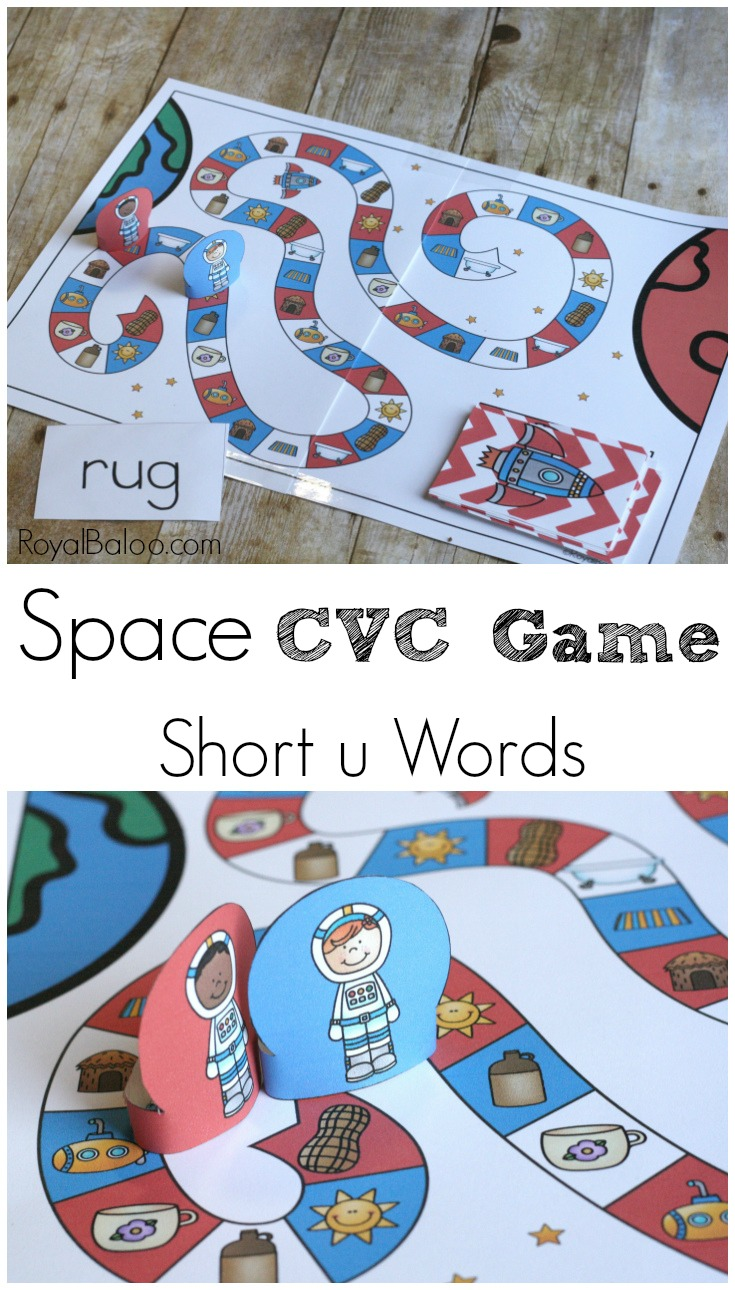 Learn to read in space! Or maybe just on Earth but pretending to be an astronaut! Learn to read with a fun space CVC game for short u words.