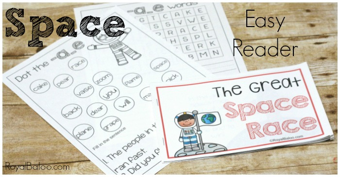Learn to read and practice silent e words with a space easy reader! The Great Space Race is a fun way to practice reading silent e words.