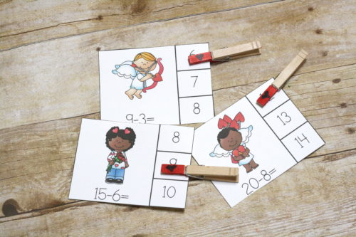 Subtraction practice doesn't have to be boring. Using themed clip cards like the Valentines Subtraction Clip Cards - to make it more interesting.