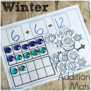 Hands on addition helps kinesthetic learners practice their math in effective ways! These winter addition mats are great for hands on learners!