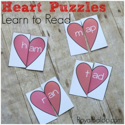 Learn to Read with CVC Heart Puzzles