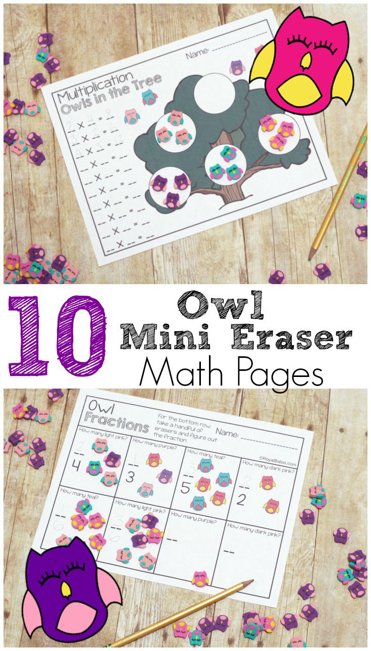 Use mini eraser as manipuatives for math! These owl mini erasers are perfect for these pages on addition, multiplication, fraction, and more