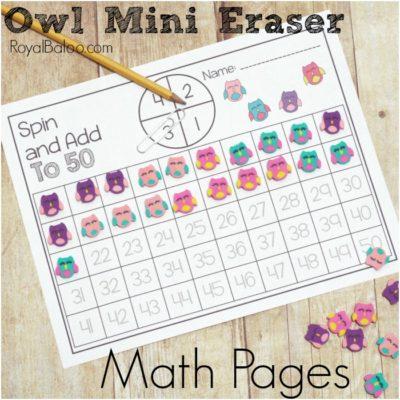 Owl Mini Eraser Math Packs for Early Elementary