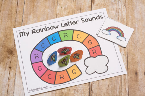 Practice letter sounds with this fun rainbow themed letter sound game!  Rainbow letter sounds are the best way for preschool learning!