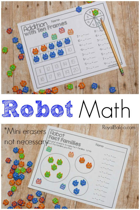 Mini erasers are a great way to get your kids excited about math! Use these adorable robot mini erasers with the robot math pack for some serious math fun!