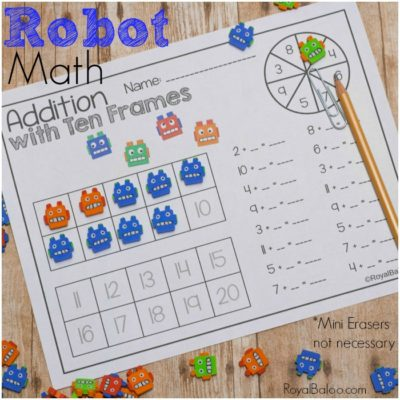 Robot Math Pages with Fun Robot Mini Erasers