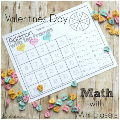 Valentines Mini Eraser Math Set for Hands on Math Fun