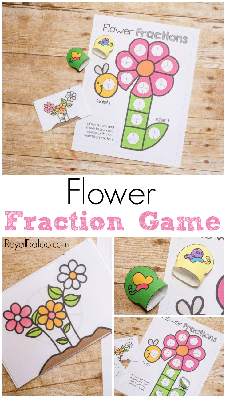Practice fractions with a refreshing flowery spring theme. This flower fraction game is sure to entice kids to practice their fraction skills!