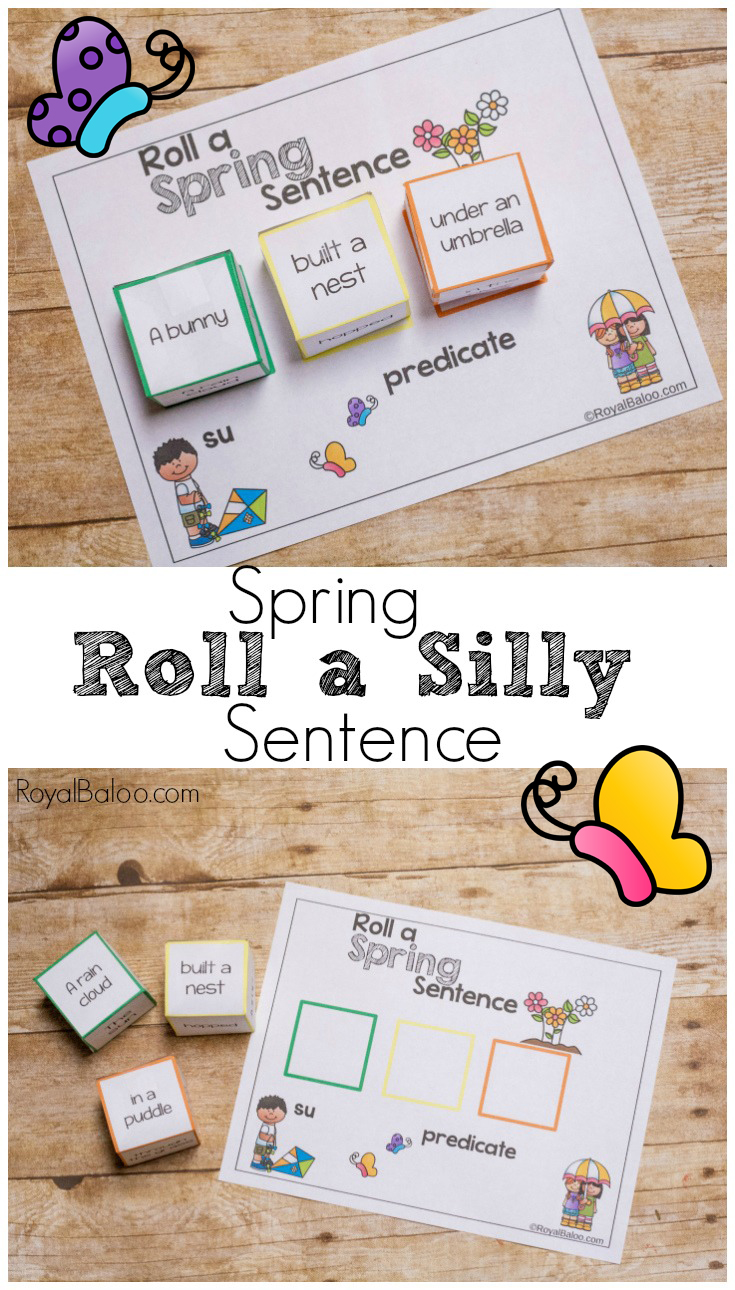 Practice reading and writing skills while having silly fun.  These roll a silly spring sentence dice are sure to bring a smile to your schoolwork!