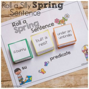 Practice reading and writing skills while having silly fun.  These roll a silly spring sentences are sure to bring a smile to your schoolwork!