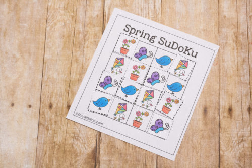 Practice logic and deductive reasoning with this fun spring SuDoKu set! Have fun and learn while sharpening brain skills! Win-win!