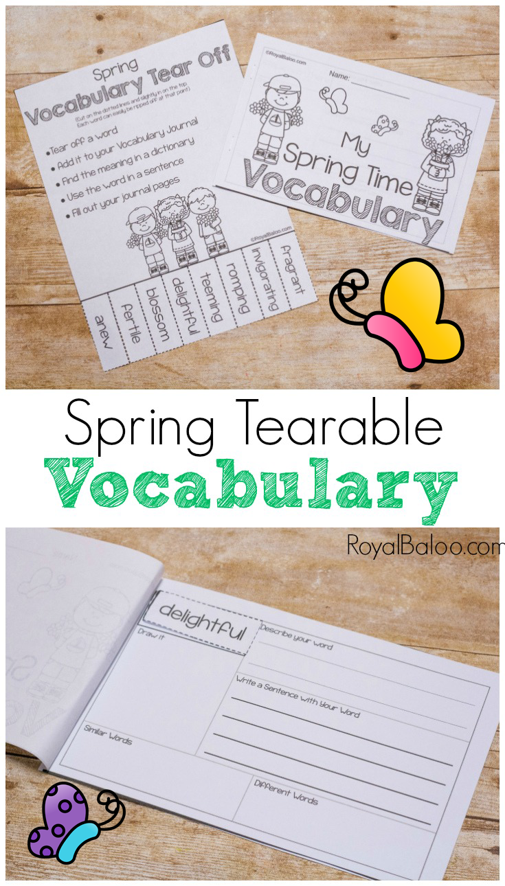 Learn spring vocabulary with a fun spring vocabulary tear off page and matching booklet! Learning new words is always fun and so are tear offs!