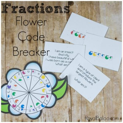 Flower Fractions Code Breaker for Equivalent Fractions Practice