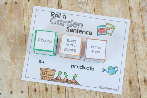 Roll a silly garden sentence and work on reading and writing skills. It's more fun to laugh while learning and these silly sentences will get them laughing.