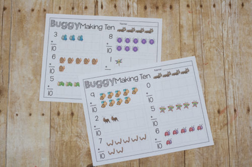 it's springtime and time for all the bugs to come out! Your kids can practice their ten facts with this fun bug themed page!