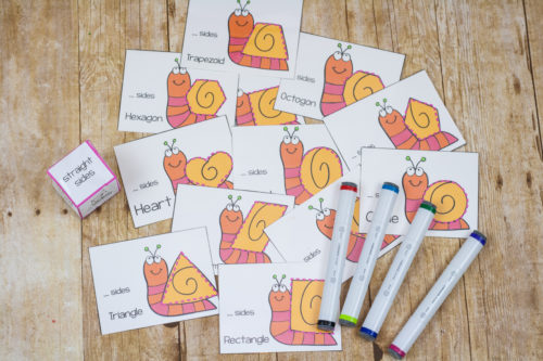 Practice handwriting, shapes and math, and fine motor skills with this gun shape game. Roll the dice, trace the shape cards, and have fun!