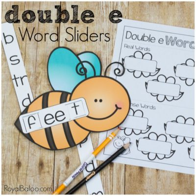 Bee Themed Double E Word Slider Reading Fun