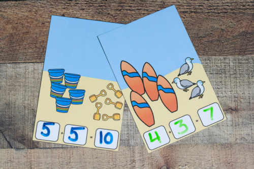 Practice addition while sitting on the beach!  Or pretending to sit on the beach with these beach addition dry erase cards!