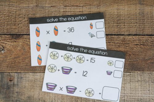 Practice math (addition and multiplication skills) and logic with these fun beach logic puzzles. The beach theme is fun and the practice is engaging.