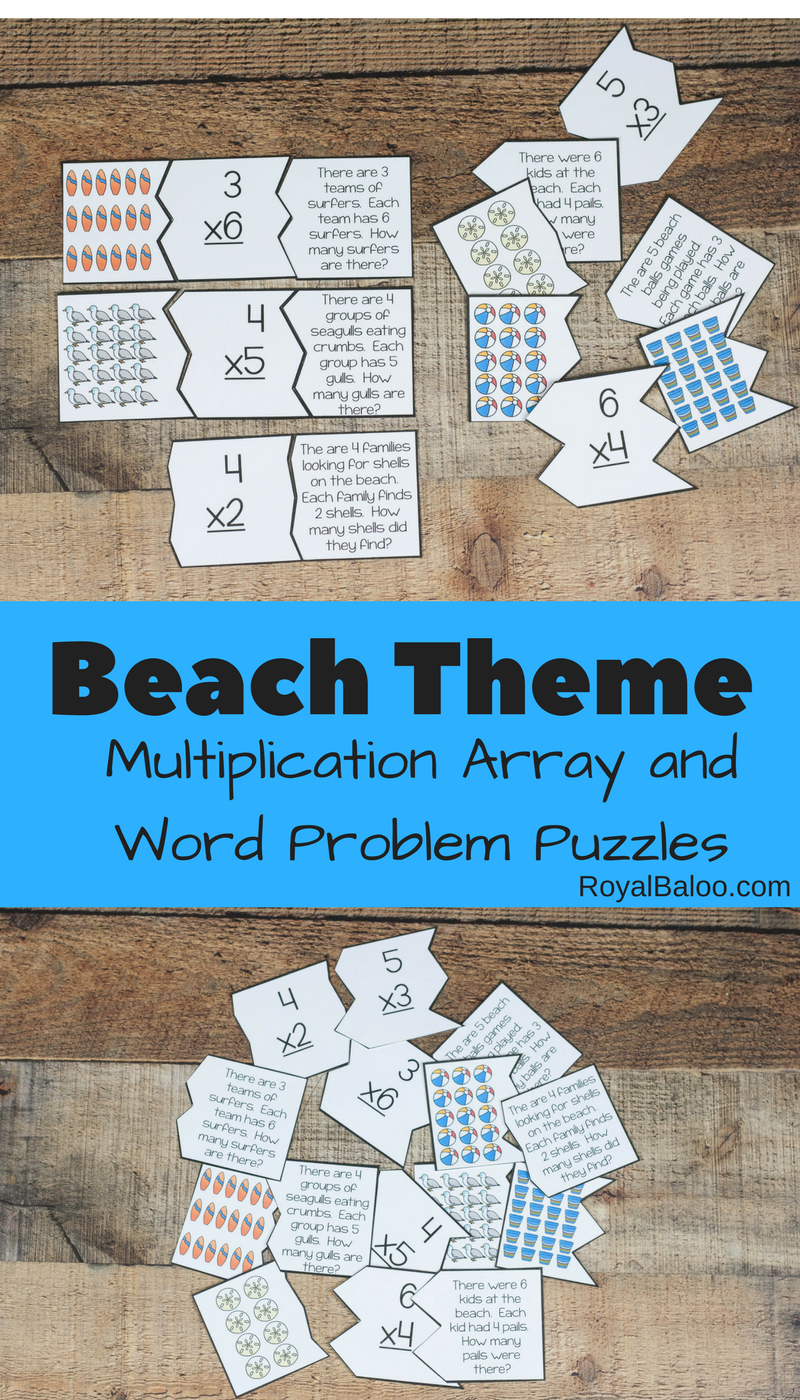 Beach Multiplication Array and Word Problem Puzzles - Royal Baloo