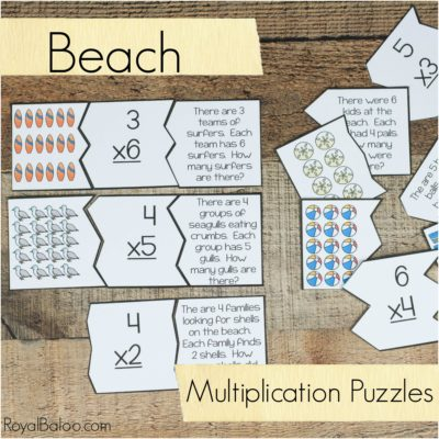 Beach Multiplication Array and Word Problem Puzzles