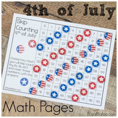 Hands On Fourth of July Mini Eraser Math Pages