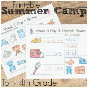 Make it the best summer ever and also keeping it educational! Work on math, reading, writing, cursive skills, and more with this free printable summer camp.