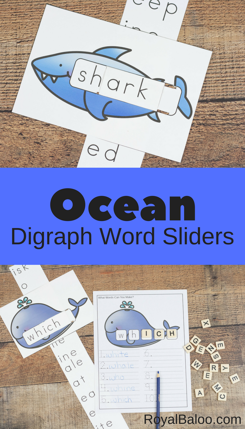 Practice digraph words for digraphs sh and wh with these digraph sliders. Find the words, make the words, write the words.