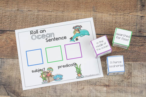 Practice reading, writing, and ocean vocabulary with this fun and silly Roll an Ocean Sentence Printables. Ocean Silly Sentences are great learning fun.
