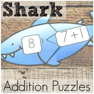 These shark addition puzzles are great fun for beginning addition. Math puzzles for kids are great way to practice some simple math facts.