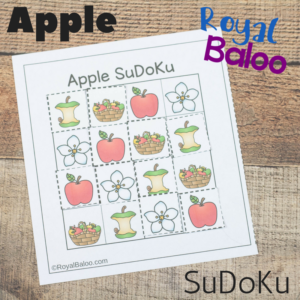 This printable apple sudoku puzzle is a great logic game for kids! Work on deduction skills with a mini SuDoKu puzzle that is just right for kids!