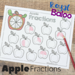 Apple Fractions Worksheets for Beginning Fractions