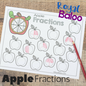 Apple Fractions Worksheets for Beginning Fractions