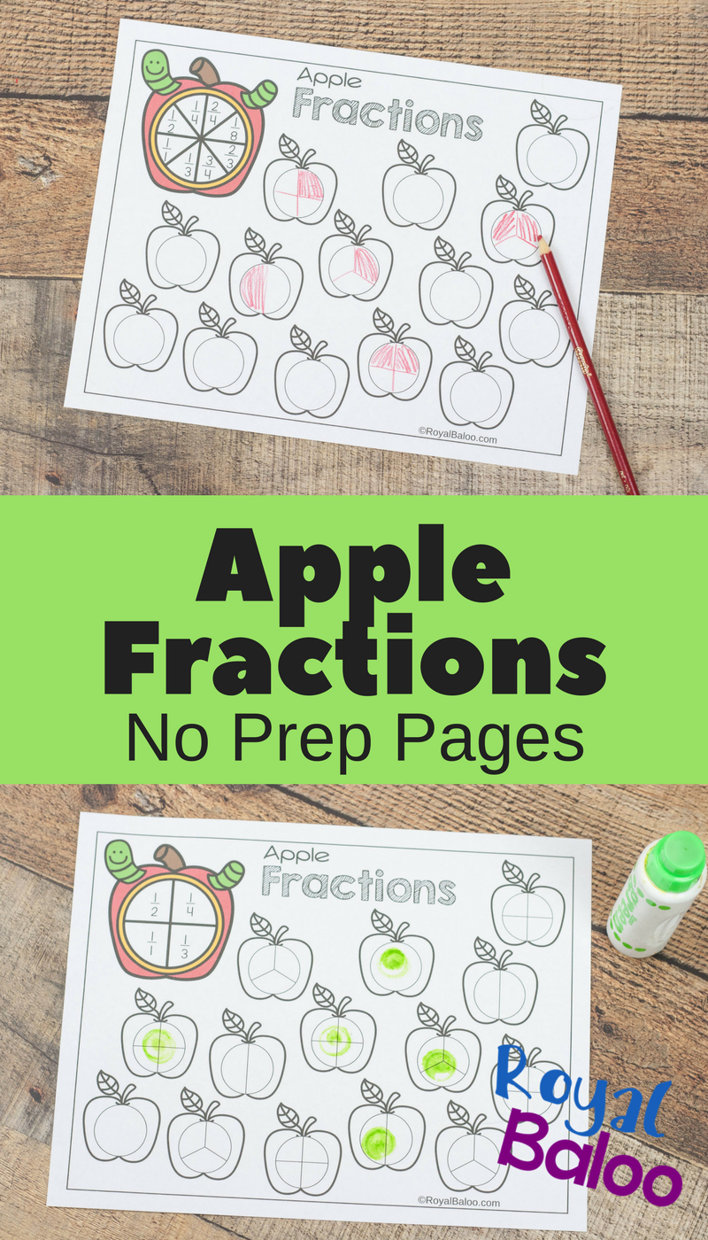 Apple Fractions Worksheets For Beginning Fractions Royal