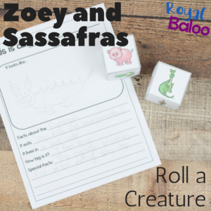 Kids don't always love to write but with fun writing prompts, it's much easier. This Zoey and Sassafrass themed roll a creature is the perfect prompt!