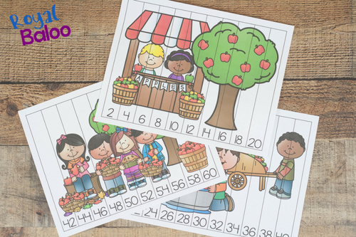 These apple themed puzzles are great for skip counting! Work on skip counting by 2s with fun apple skip counting puzzles.