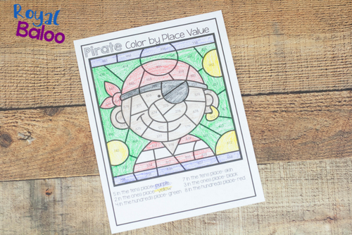 Make math more fun with color by math pages! Addition, fractions, and place value are all covered in this fun pirate math set!