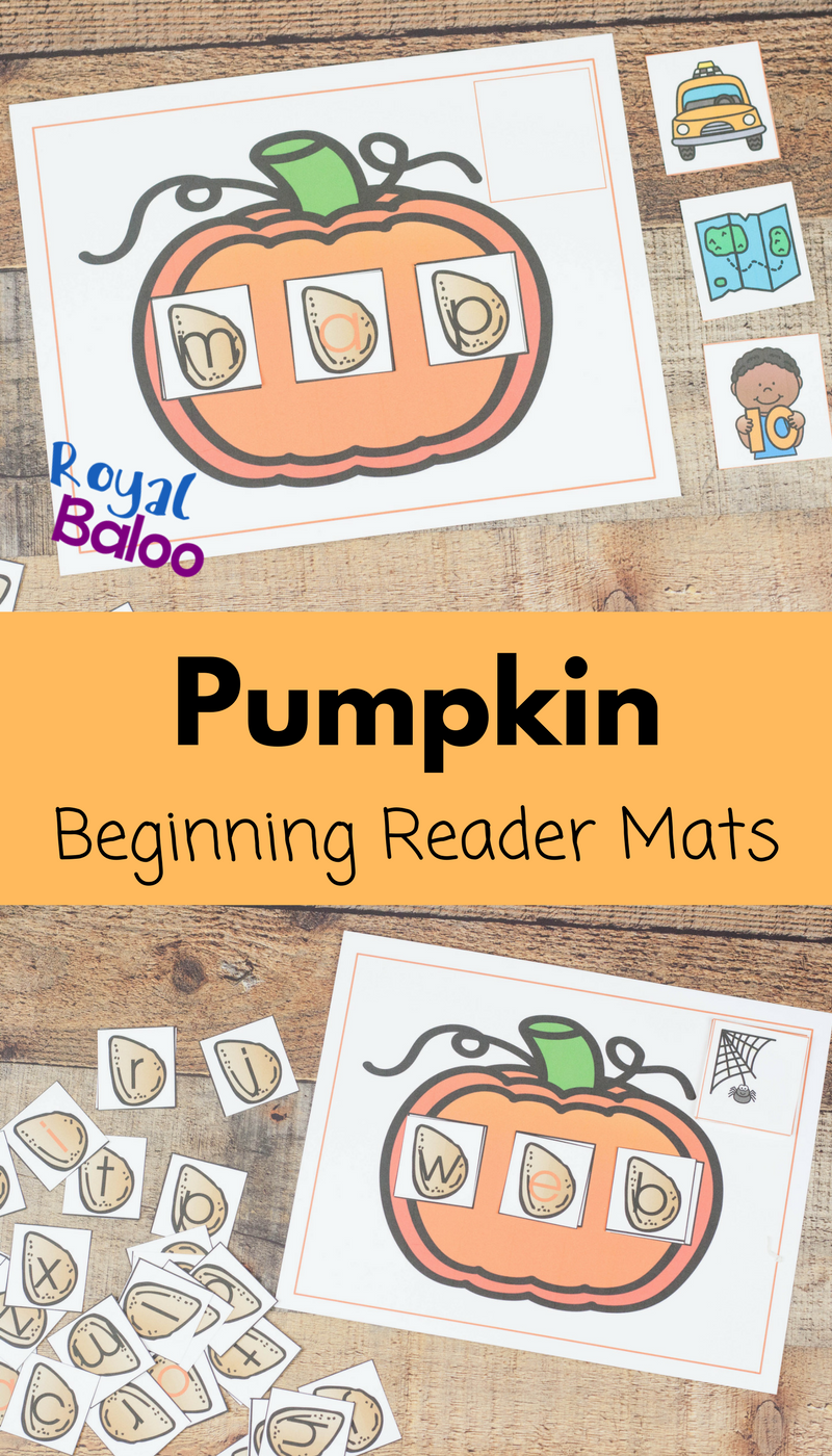 Reading practice with pumpkins is always better. These pumpkin word builder mats are great for the beginning reader to practice short words!