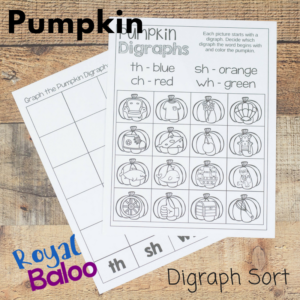 Combine two subjects with one activity in this fun pumpkin digraph and graphing set! Work on sounding out words that begin with digraphs!