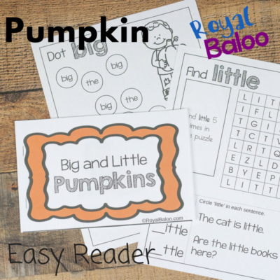 Pumpkin Easy Reader Book for Sight Word Reading