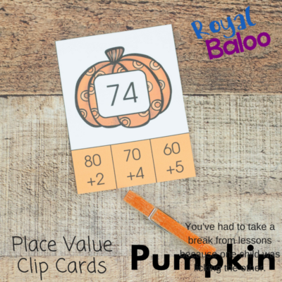 Pumpkin Place Value Clip Cards for Easy Place Value Practice