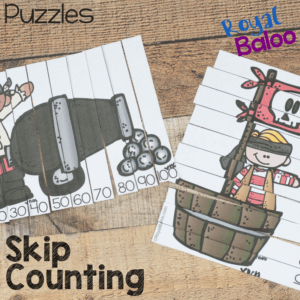 Pirate skip counting puzzles are just right for your kids that need to work on counting by 10s! Put together a puzzle or two for a great review!