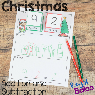 Christmas Math Mats for Hands On Subtraction and Addition