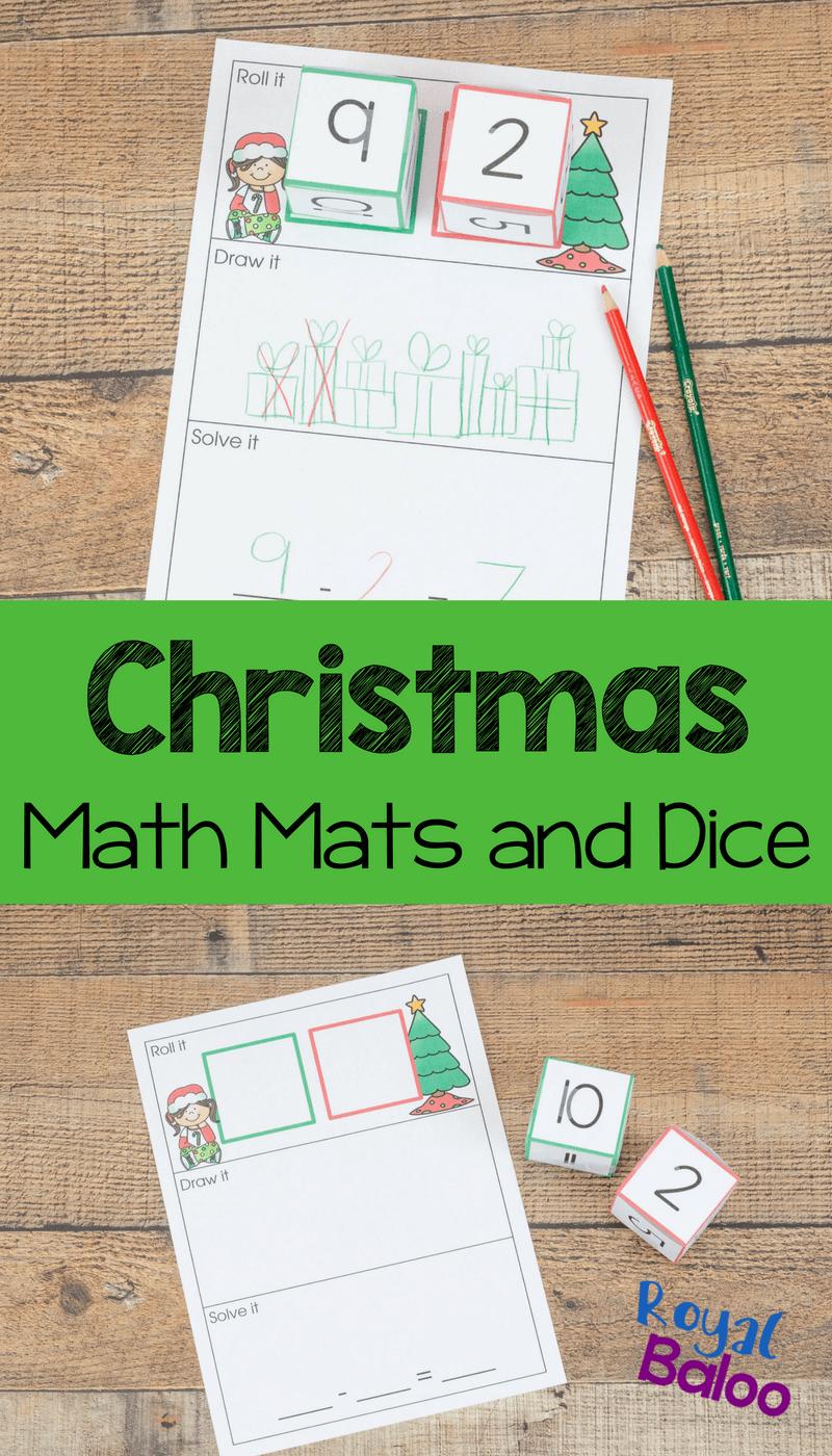 Christmas math mats are a sure way to make addition and subtraction way more fun this holiday season! Roll, add, solve! Easy, simple, fun.