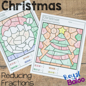 Christmas Color by Reducing Fractions