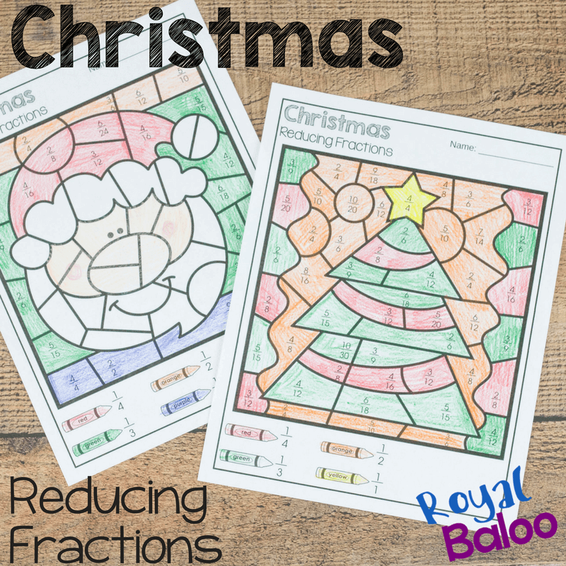 Christmas Color by Reducing Fractions - Royal Baloo