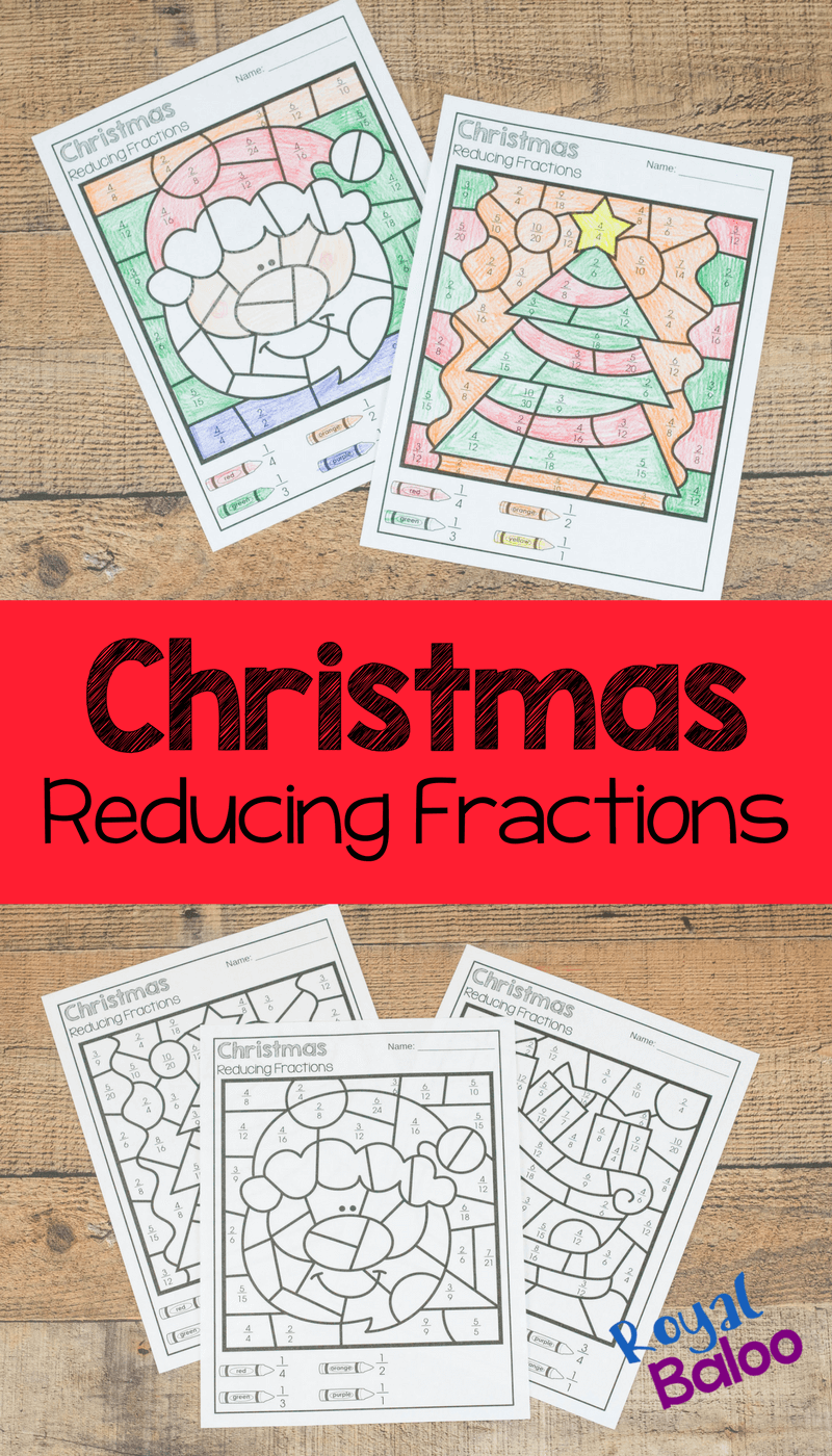 Practice reducing fractions with this fun Christmas color by code reducing fractions set! No prep printables for reducing fractions!