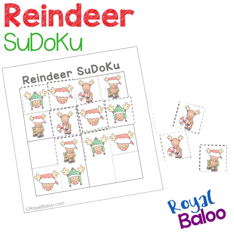 photograph about Christmas Sudoku Printable identified as Reindeer SuDoKu Puzzles - Xmas Logic Pleasurable - Royal Baloo
