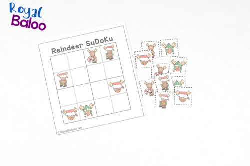 Reindeer sudoku puzzles - perfect for logic and deduction practice! This free printable is great for kids who wants a puzzle challenge!